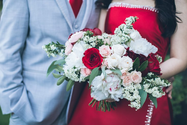sophisticated floral designs portland oregon wedding florist aniko productions photography red bridal dress (4) (735x490).jpg