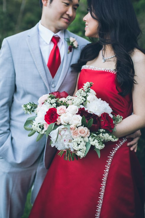 sophisticated floral designs portland oregon wedding florist aniko productions photography red bridal dress (3) (490x735).jpg