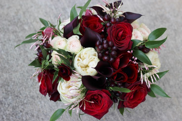 sophisticated floral designs portland oregon wedding florist burgundy black blush wedding bouquet calla lilies garden roses baccara jasmine vine (1) (735x490).jpg