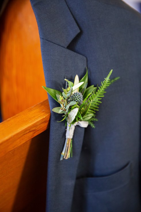 sophisticated floral designs portland oregon wedding florist military wedding bell tower chapel all greenery and texture blue thistle boutonnieres