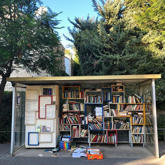 Reading Station - Jerusalem's version of the #littlefreelibrary repurposed old bus stops