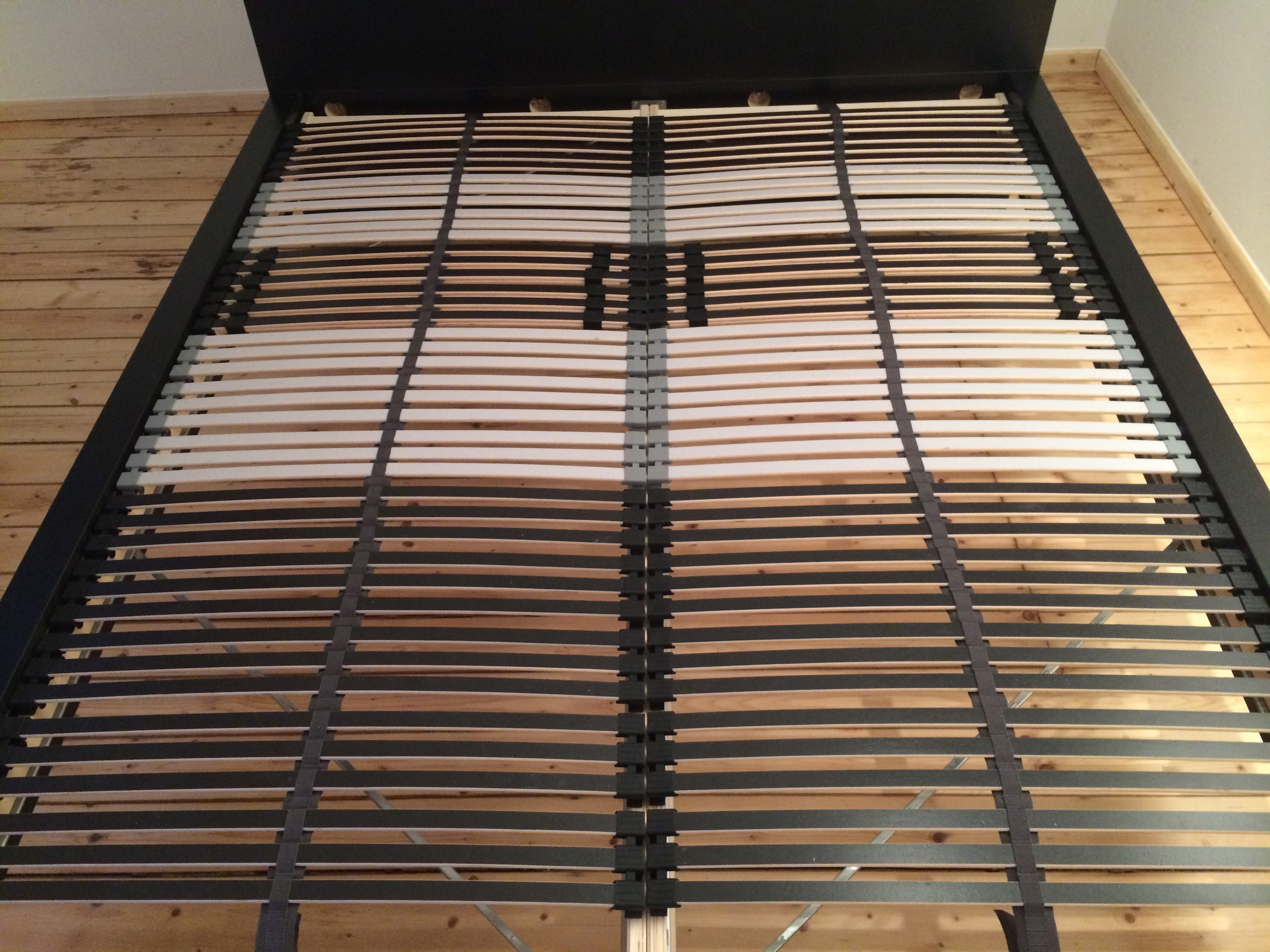 The finished bed frame (no box springs here!)