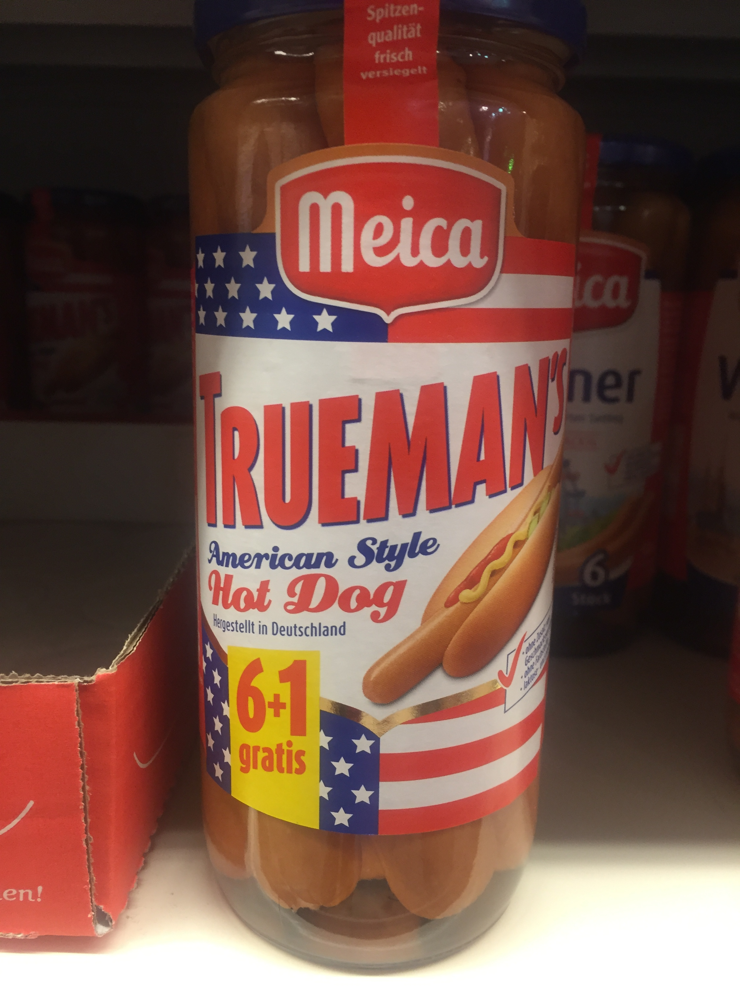 Hot dogs in a jar = american