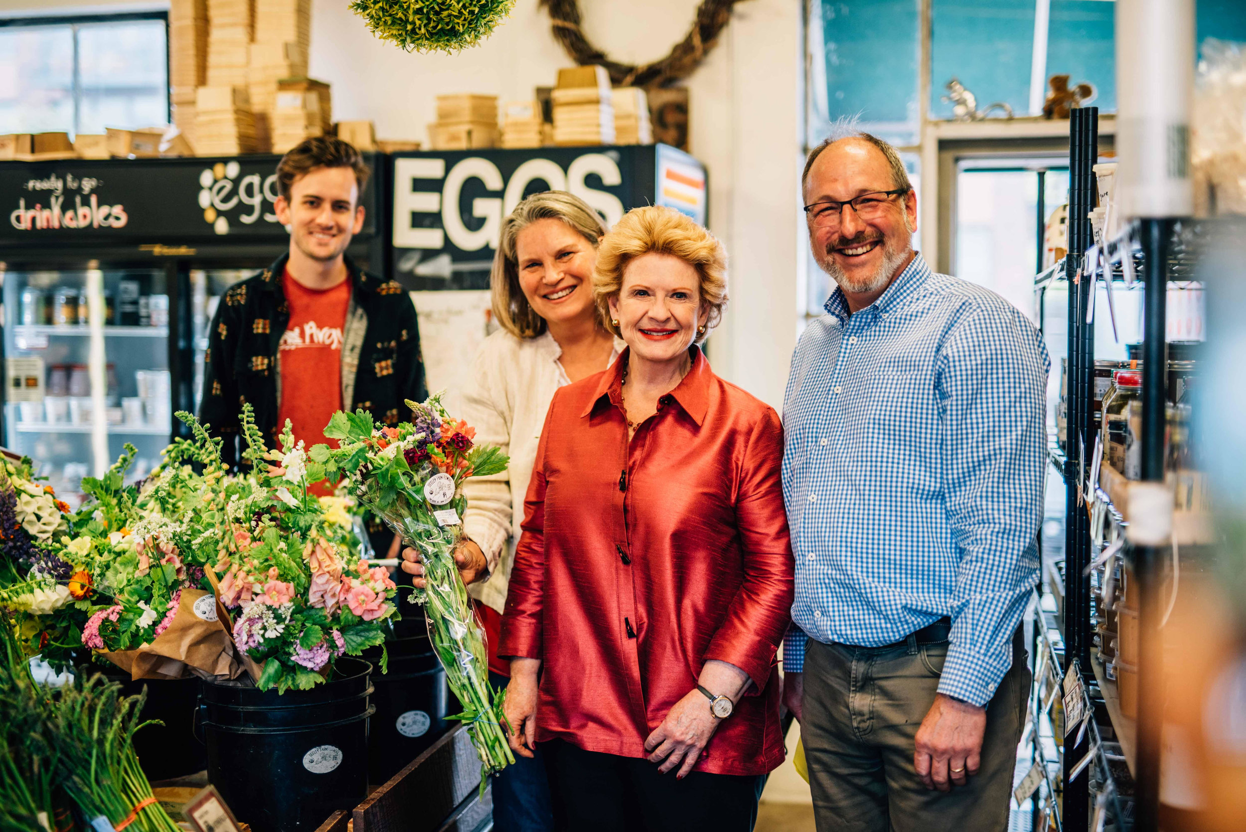Debbie Stabenow with the founders of Argus Farm Stop in Ann Arbor, Michigan