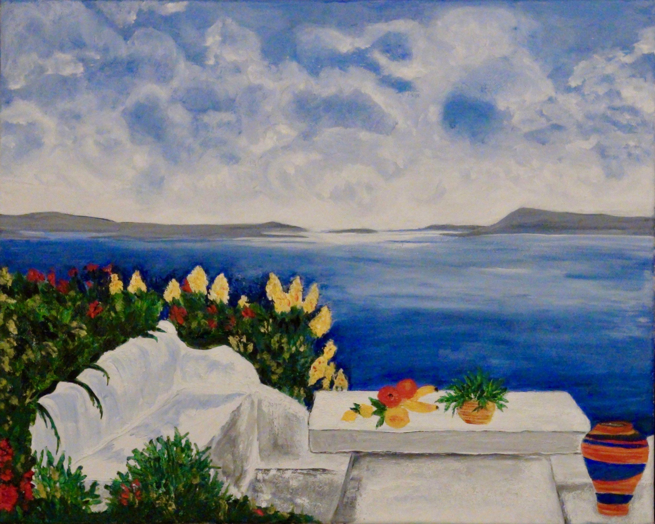 """Santorini Idyll"" - Oil, 20""x 16"" - 2016"
