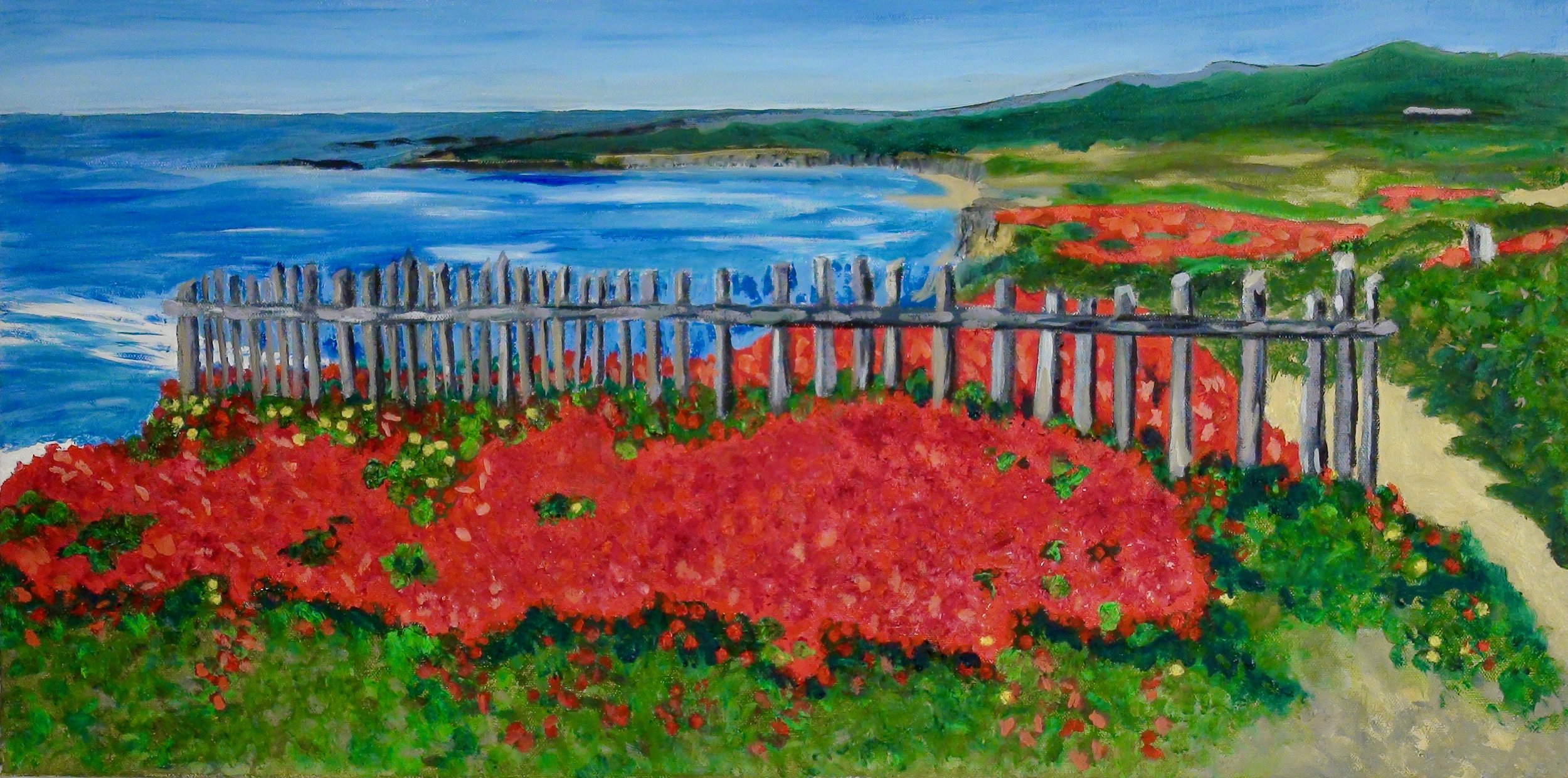 """Spring on the Sea Ranch Bluff"" - Oil, 30""x 15"" - 2016"