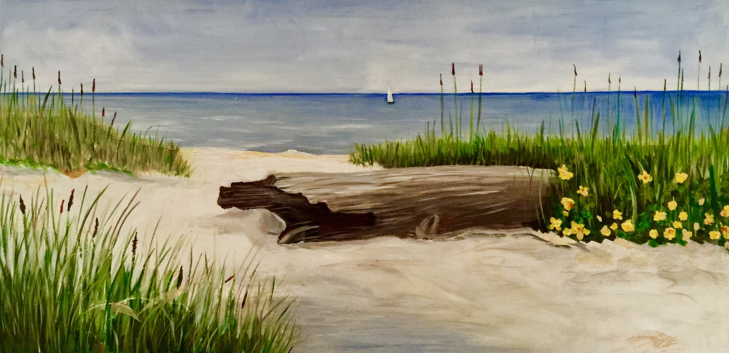 """North Sea Dunes"" (following ""Seaside Scenes"" by Jacqueline Penney) - Oil, 30""x 15"" (2016)"