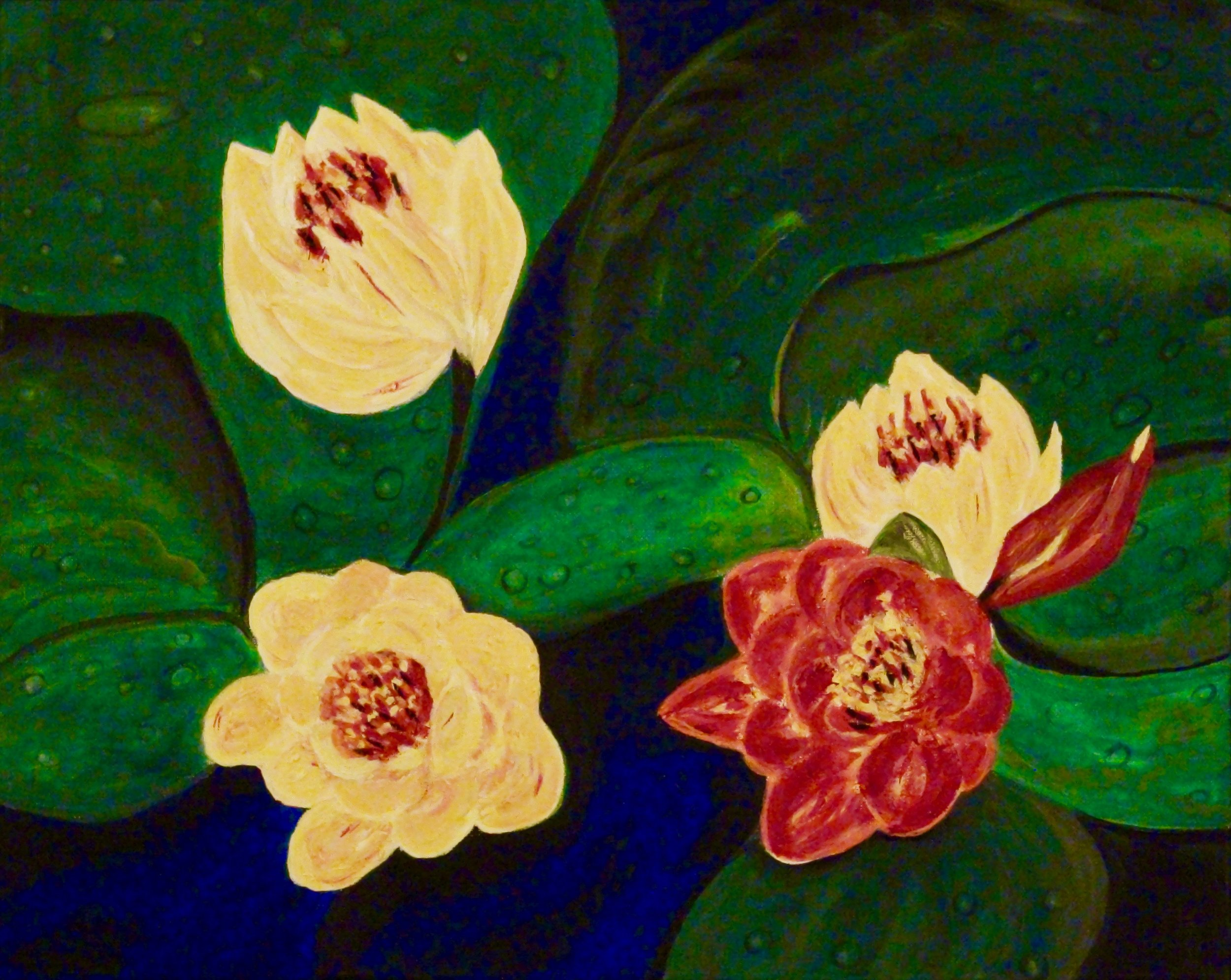 """Golden and Red Water Lilies"" - Oil, 20""x16"" (2016)"