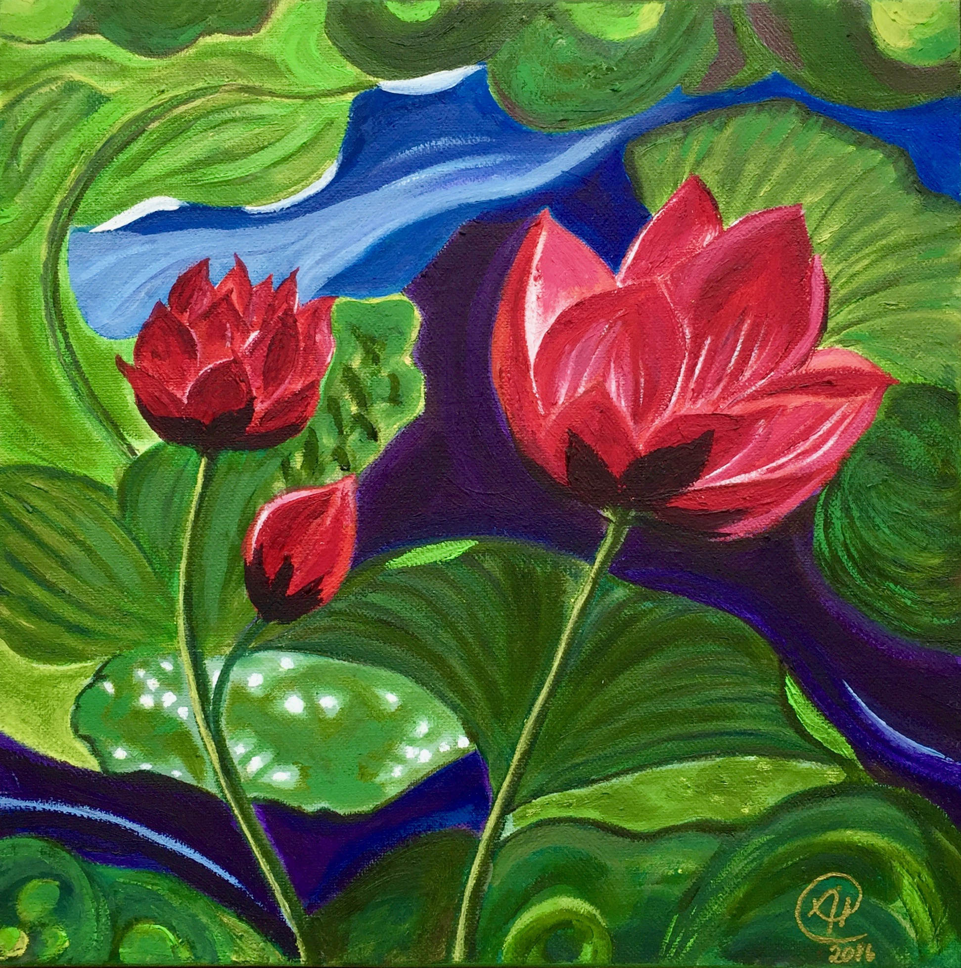 """Three Water Lilies"" - Oil, 12""x12"" (2016)"