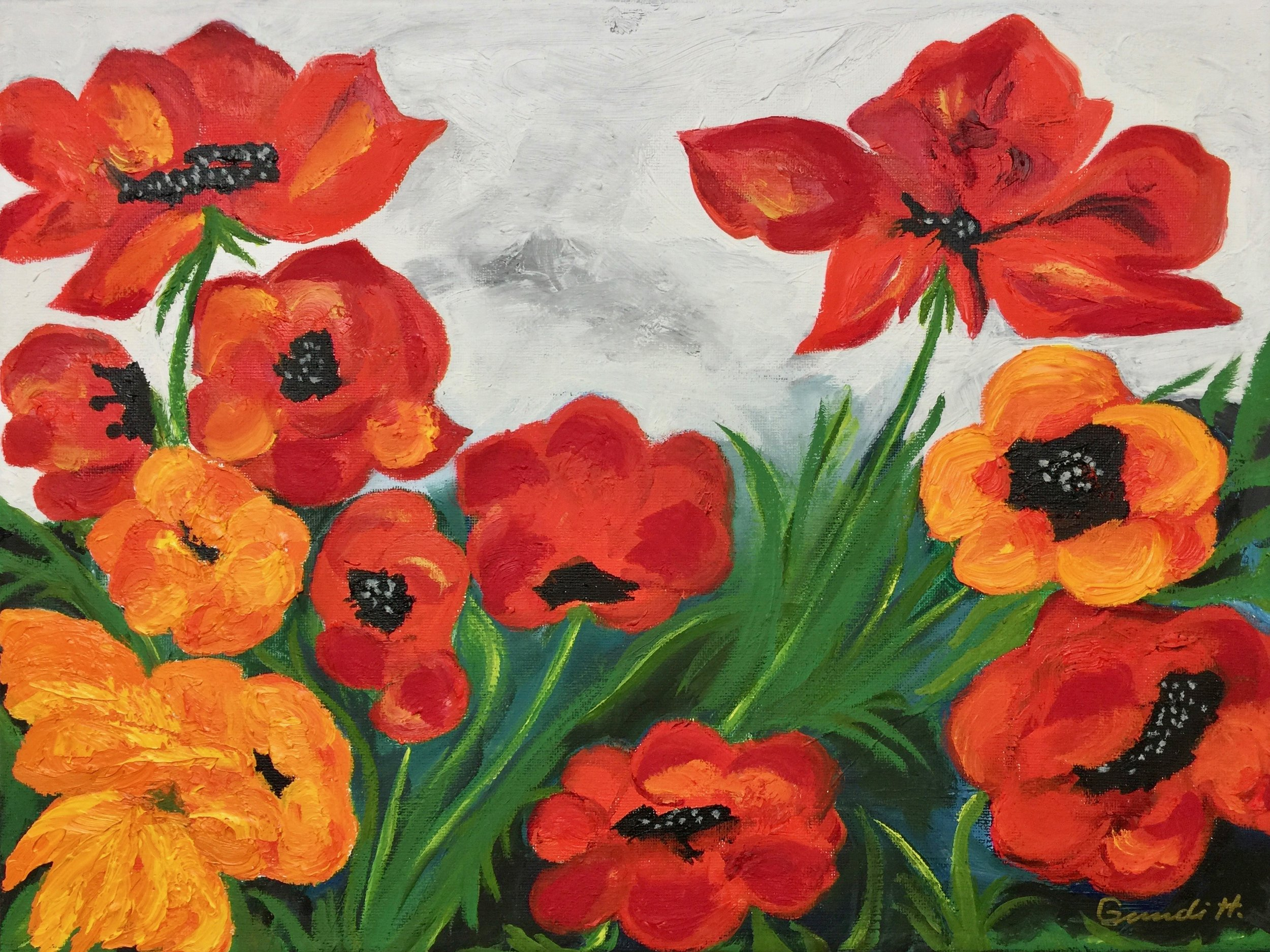 """red and orange poppies"" - Oil, 16""x12"" (2019)"