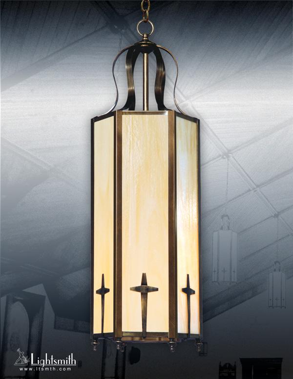 212-PT - Antique Brass - Streaked Opal Glass