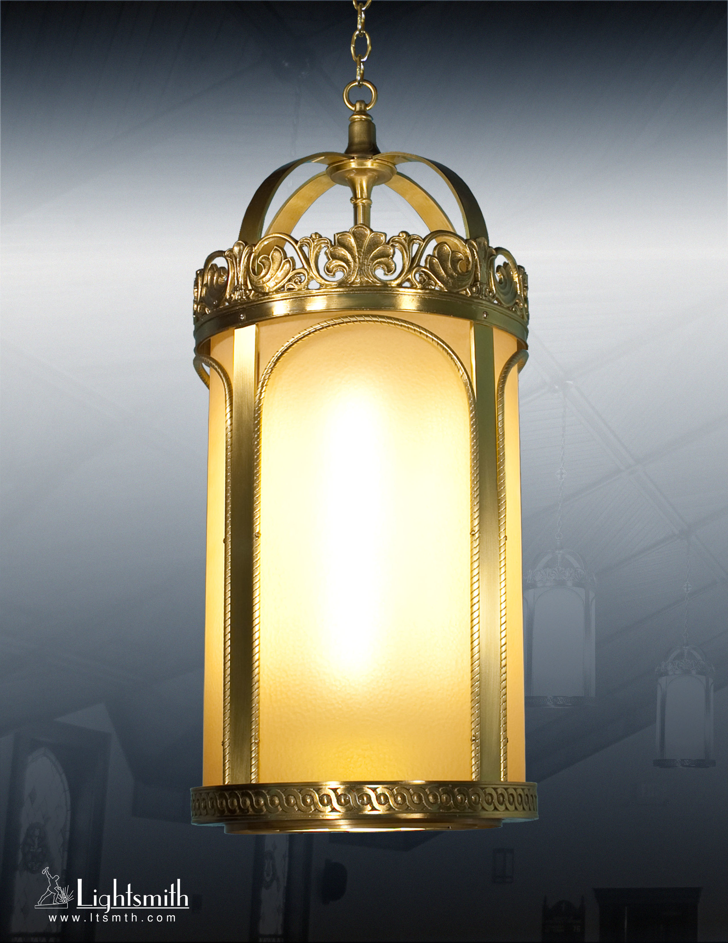 1514-PT - Satin Brass - Amber Glass Etched
