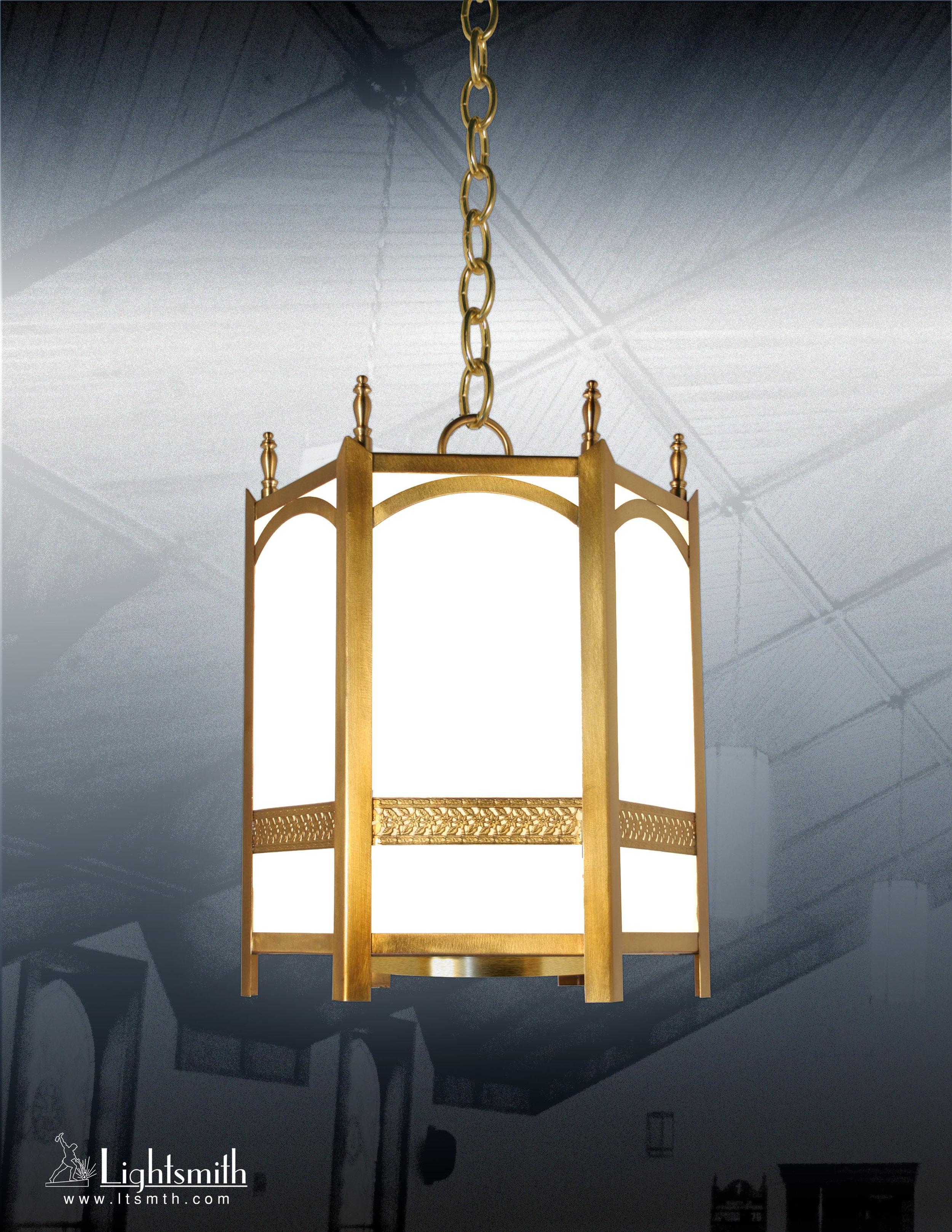 312-ST -Satin Brass - White Opal Glass