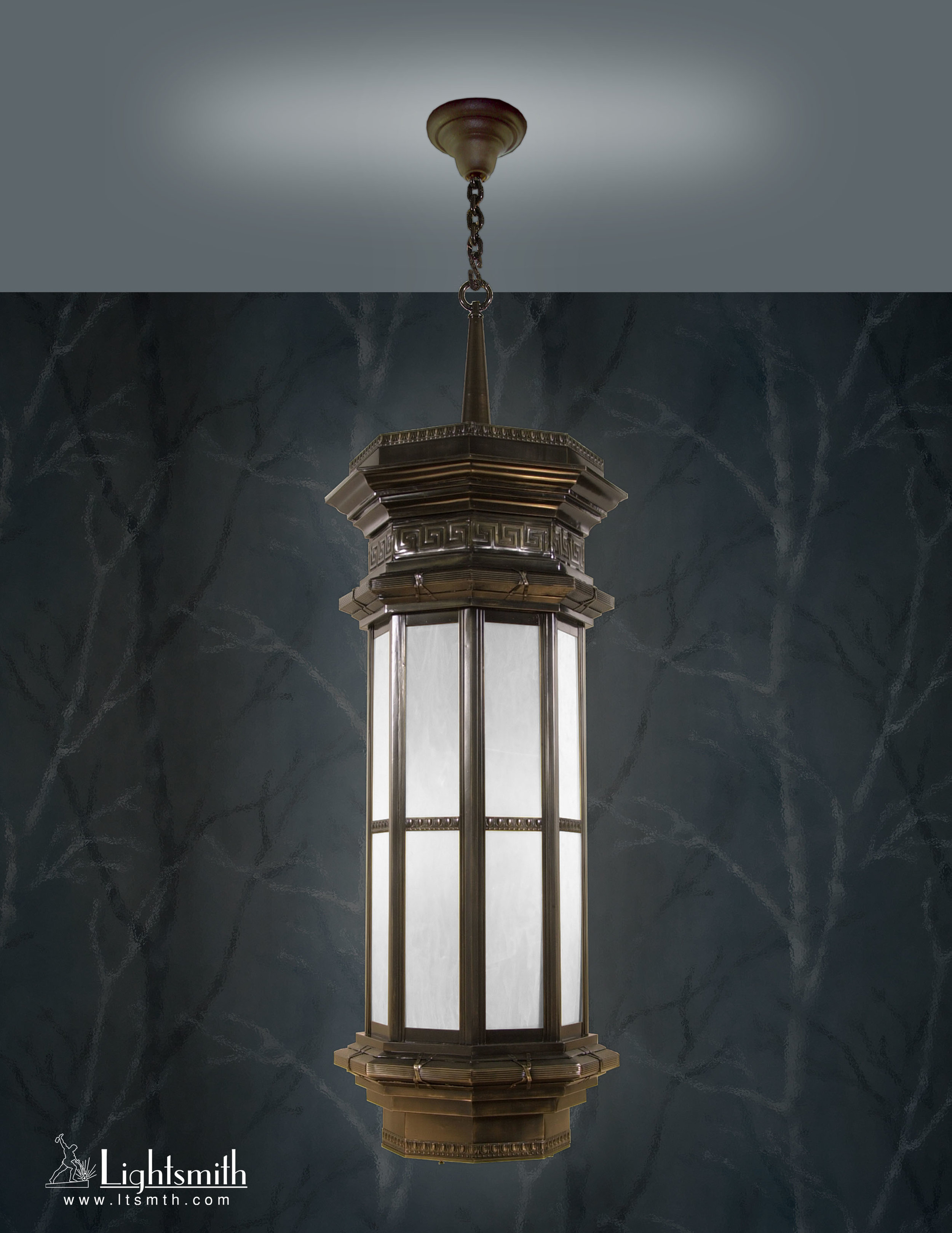 PD-1706 - Antique Brass - White Alabaster Acrylic