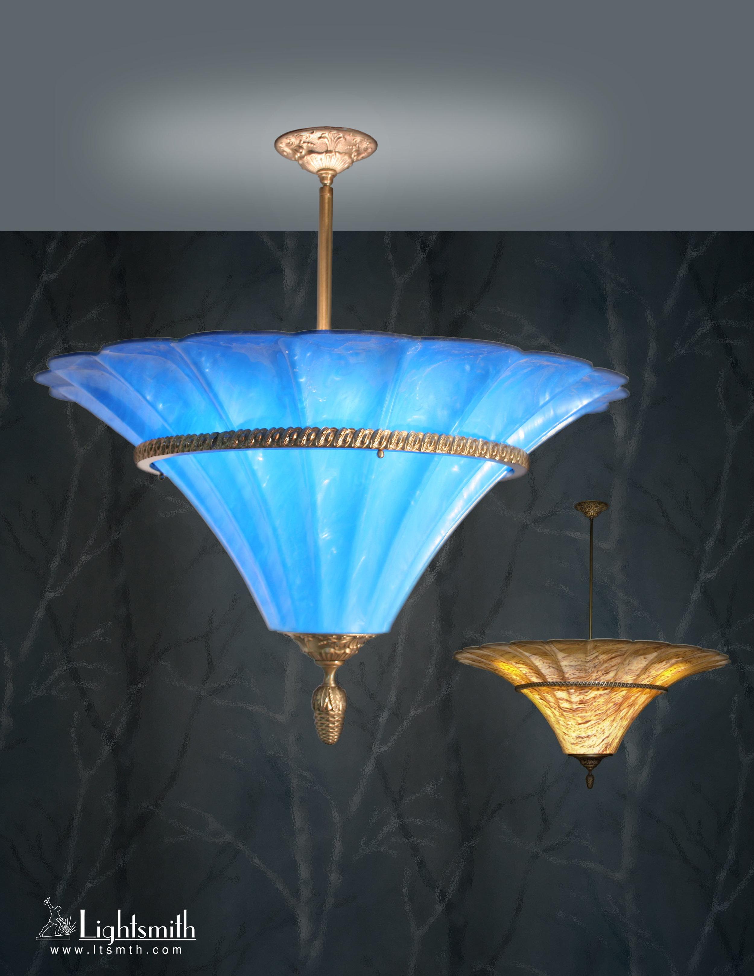 PD-4204 - Satin Brass - Sea Blue Acrylic    PD-4205 - Antique Brass - Natural Horn Acrylic