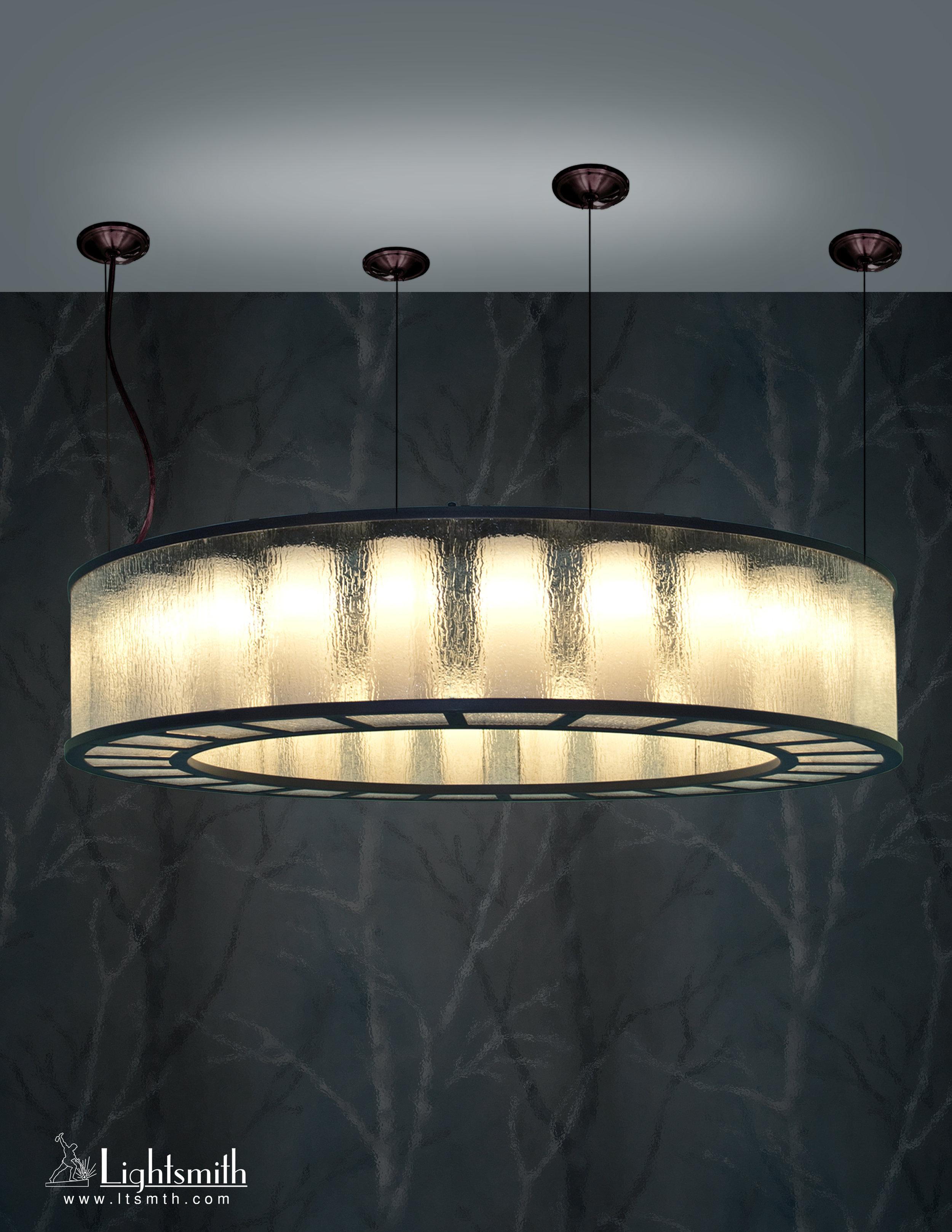 PD-10313 - Dark Bronze - Rain Acrylic Sides - White Opal Acrylic Cylinders Interior