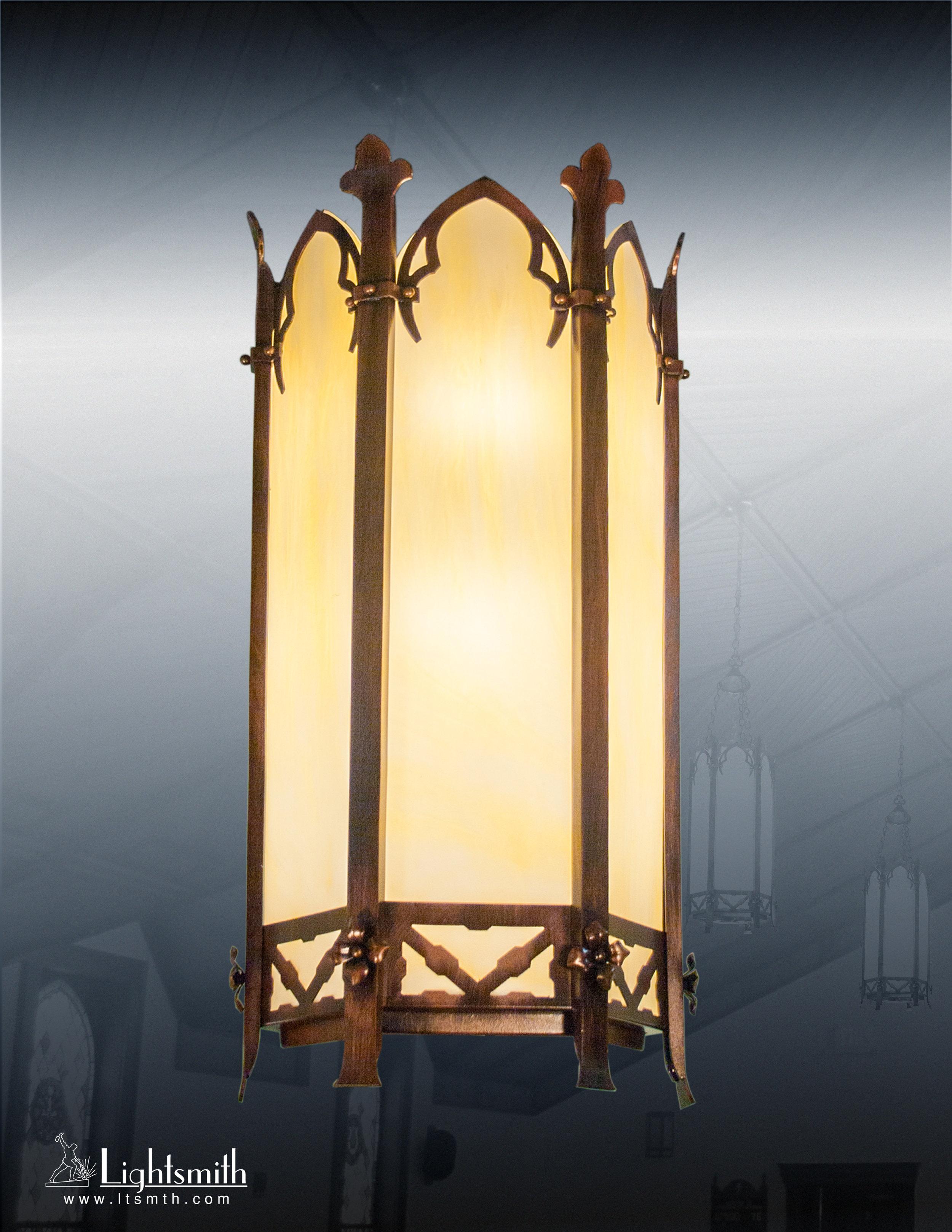 1610-WT - Antique Bronze - Streaked Opal Glass
