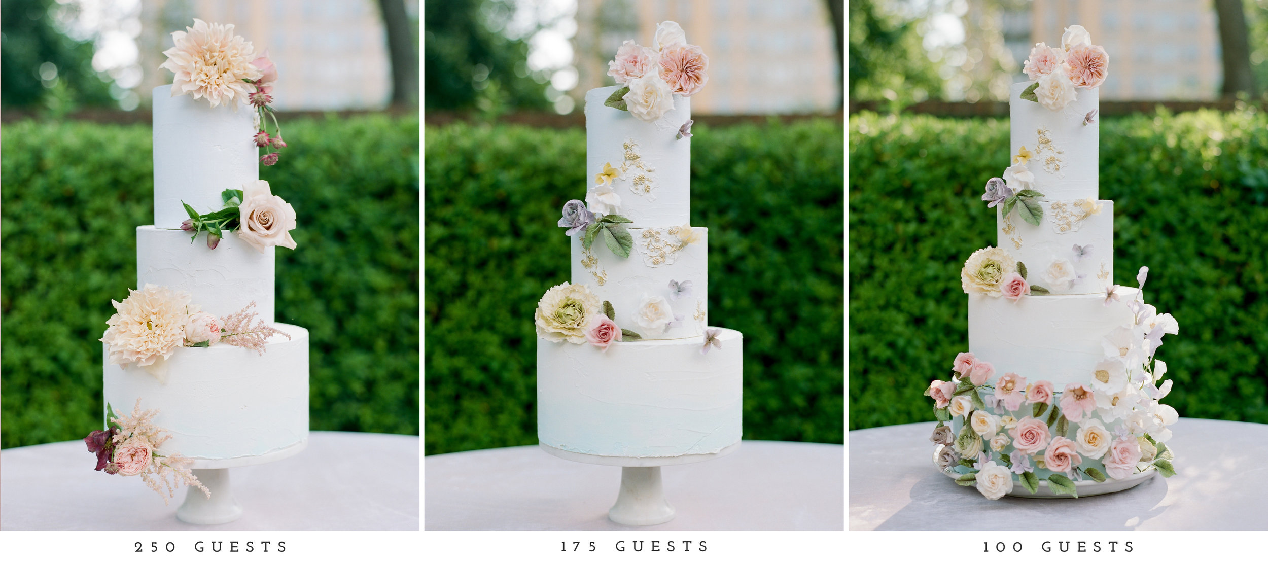 Buttercup Bakery specializes in sugar flowers, but understands that it isn't always an option for all budgets. For the 250 guest count, only real flowers were used but as the guest count went down, more sugar flowers and custom flavors were added in.