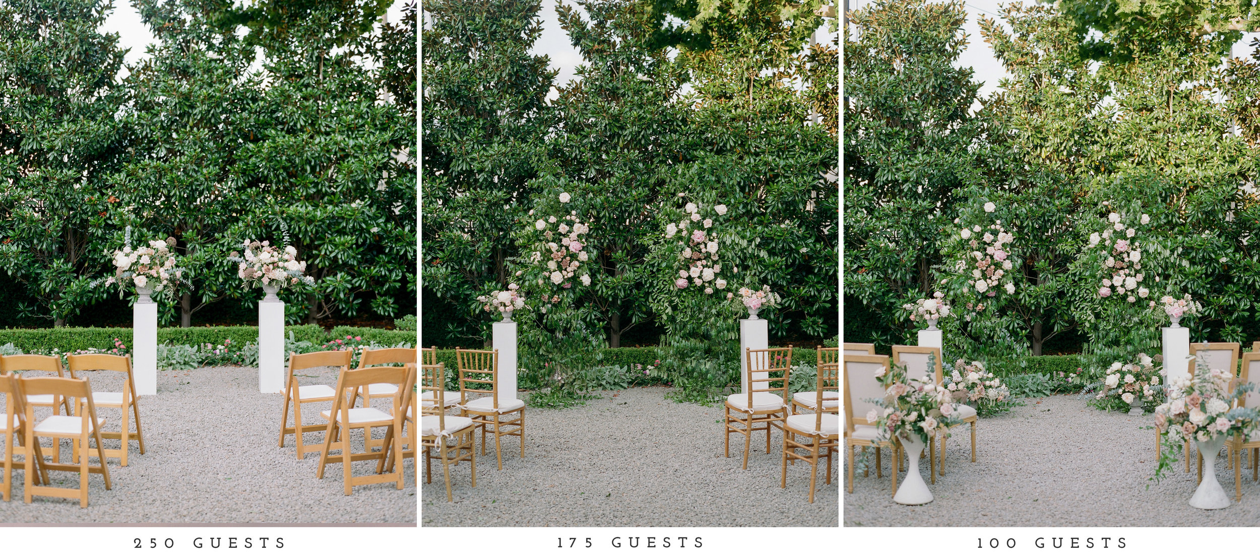 Going from 250 to 100 guests, the floral budget increased, resulting in not only more flowers overall, but also more premium blooms were integrated such as peonies and garden roses.