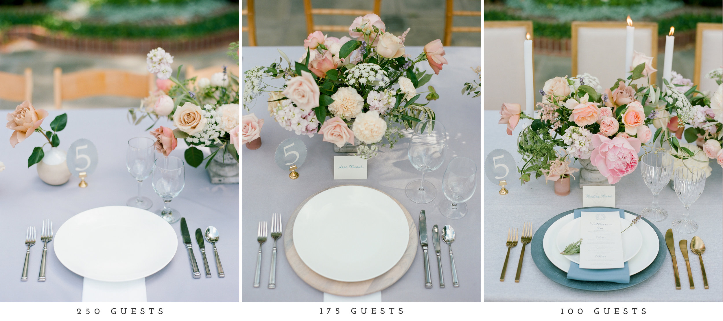 Going from left to right, we were able to incorporate more design elements rather to only use items included with the catering service