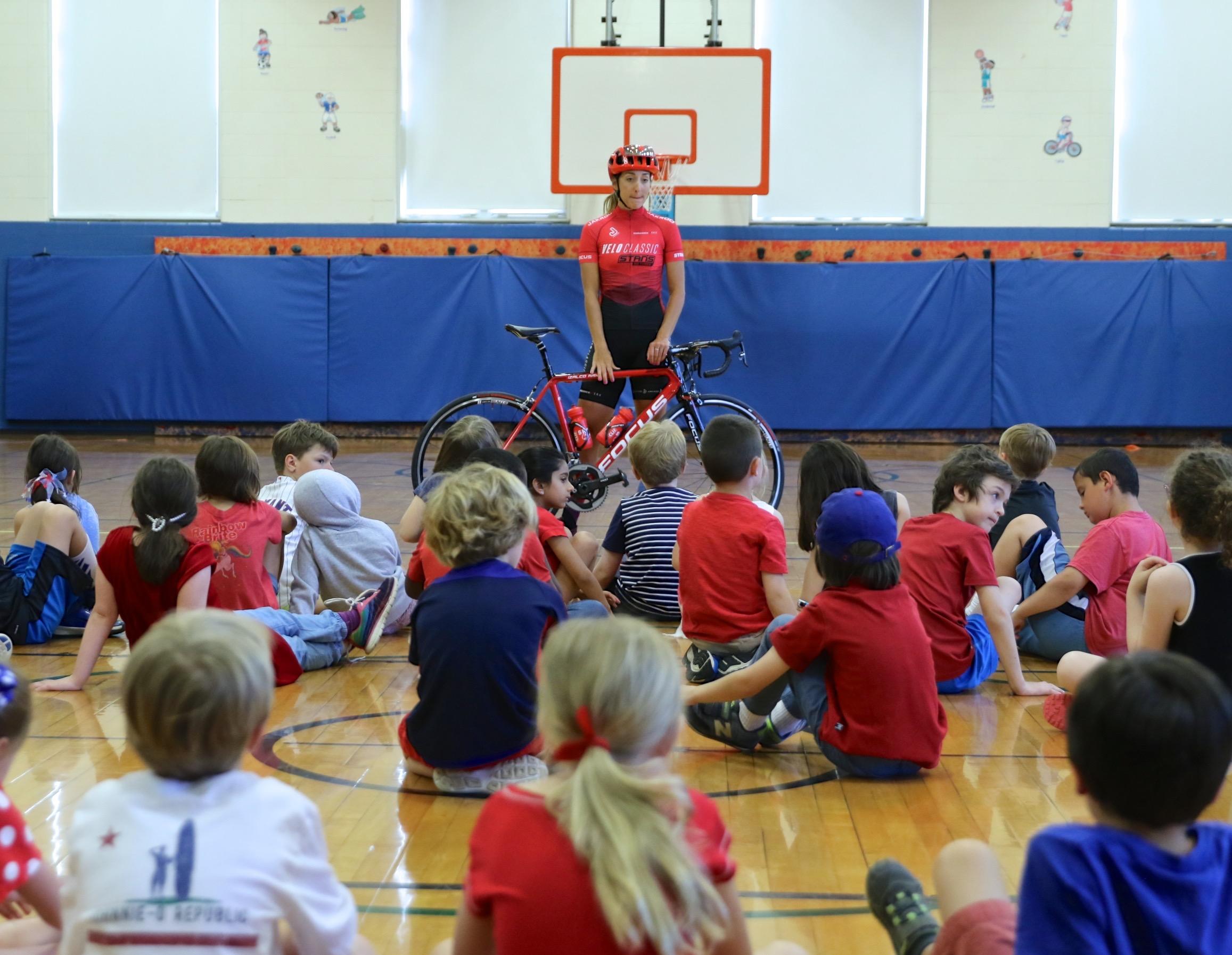USA Crits Glencoe Grand Prix, Glencoe School Visit Lecture about bikes and bike racing - Speaker: Daphne KaragianisParticipants: 25 grade school childrenLocation: Glencoe, IL