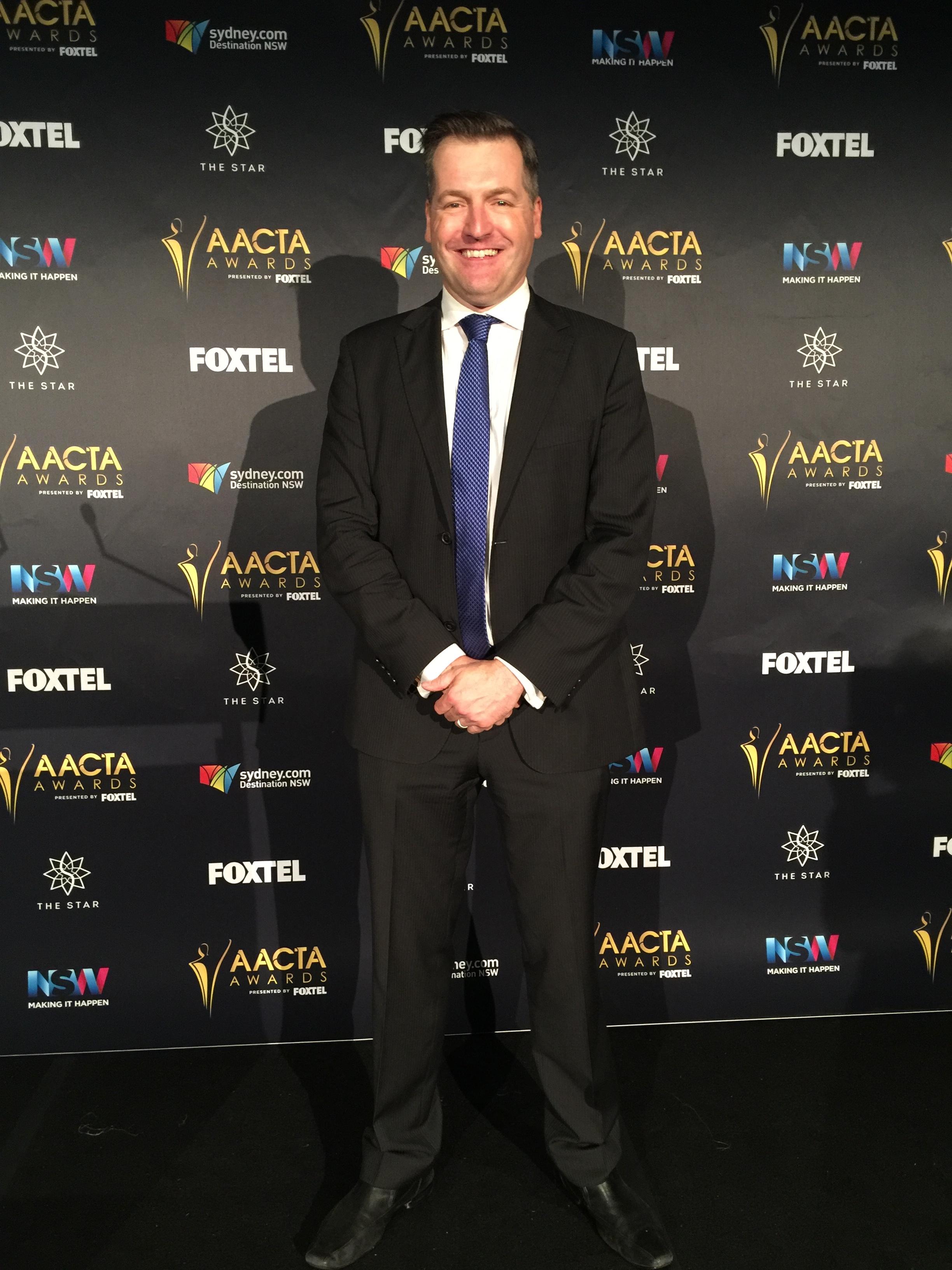 Giles Hardie hosts the AACTA Awards Media Room