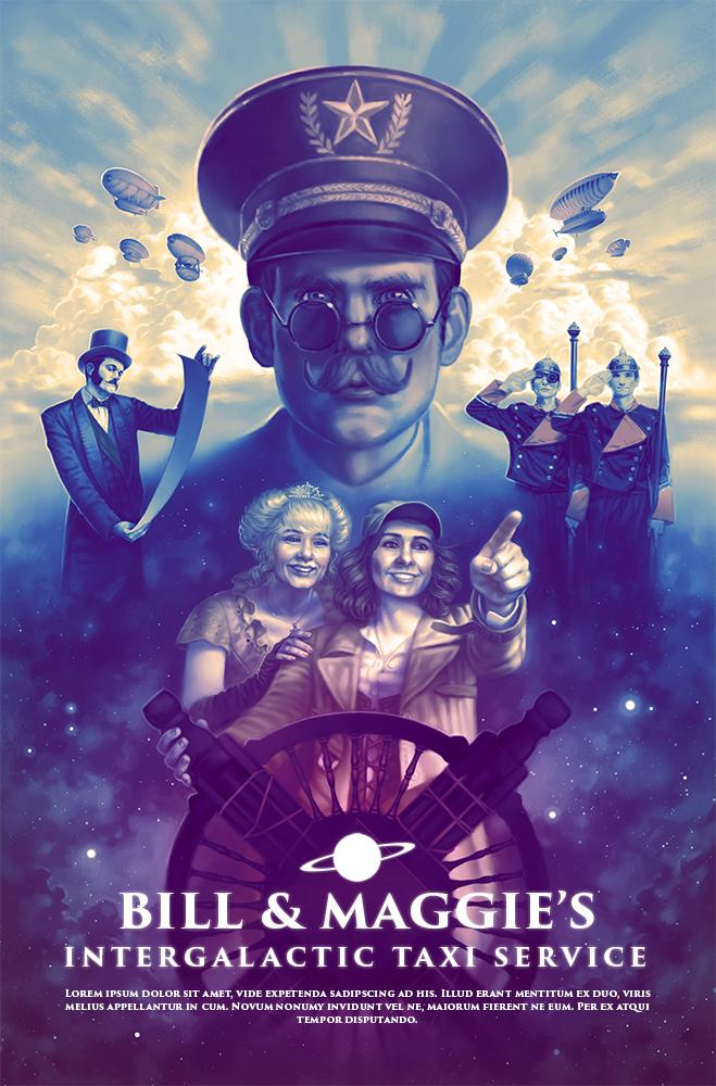 Bill & Maggie's Intergalactic Taxi Service Poster