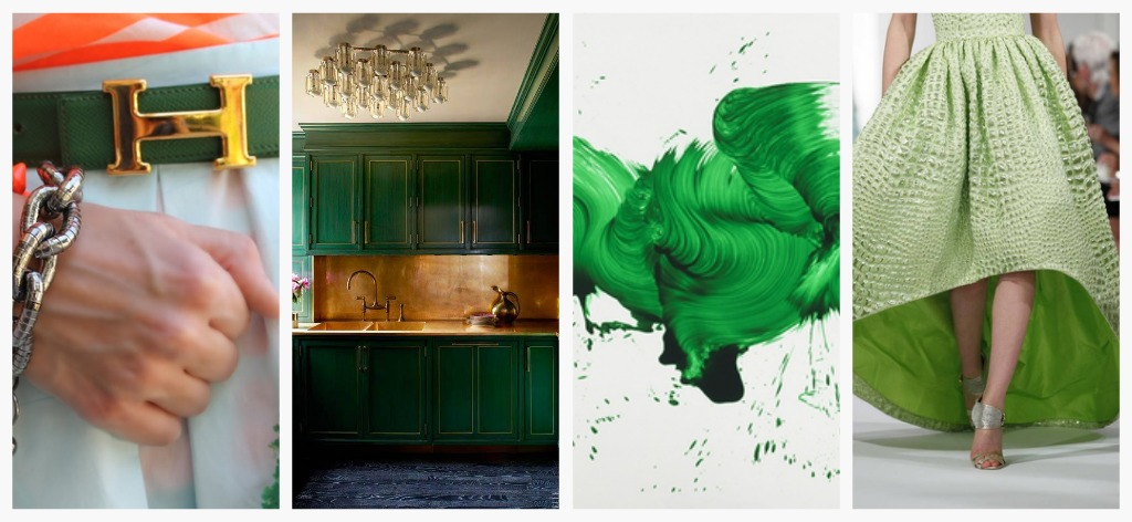 Hermes belt. Kelly Wearstler kitchen. Oscar de la Renta dress. James Ares Painting. Photo via Pinterest.