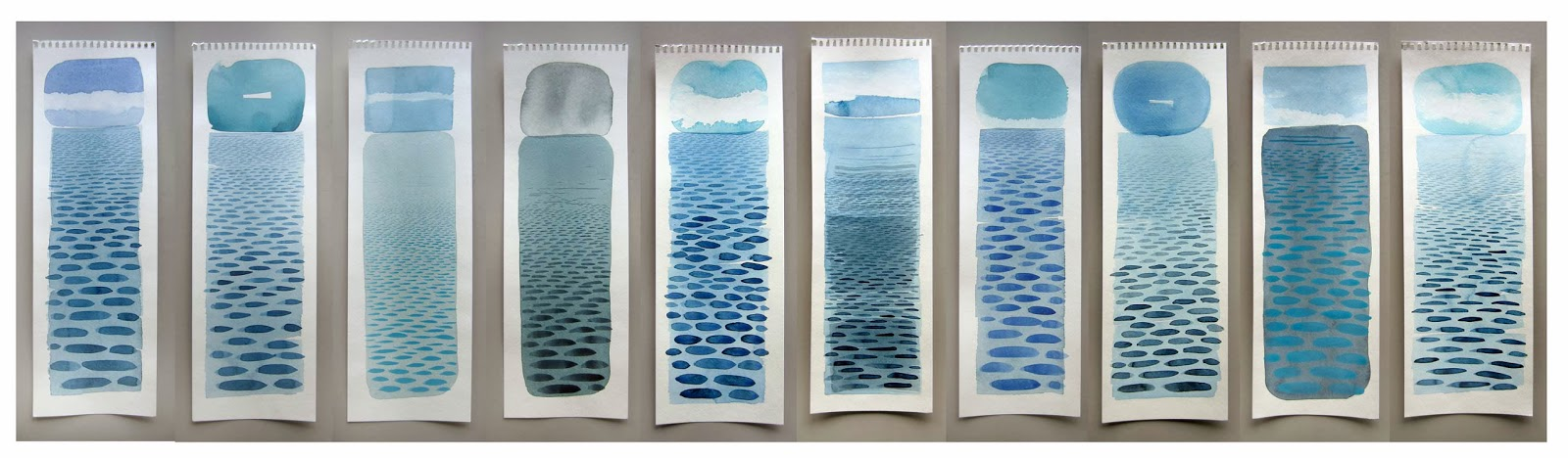 Recent 'Lake Michigan' Watercolors    - 6 x 18 inches