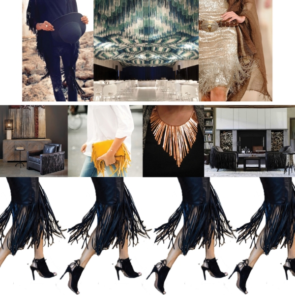 Left to Right:   Fringed Poncho , Fringed Ceiling, Fringe Dress from  Ralph Lauren  Runway.  Janis Fringed Chair by Bradley ,  Fringed Clutch ,  Copper Fringe Necklace ,  Laura Kirar Fringed Chair . Fringed Skirt from  Marie Claire Magazine .