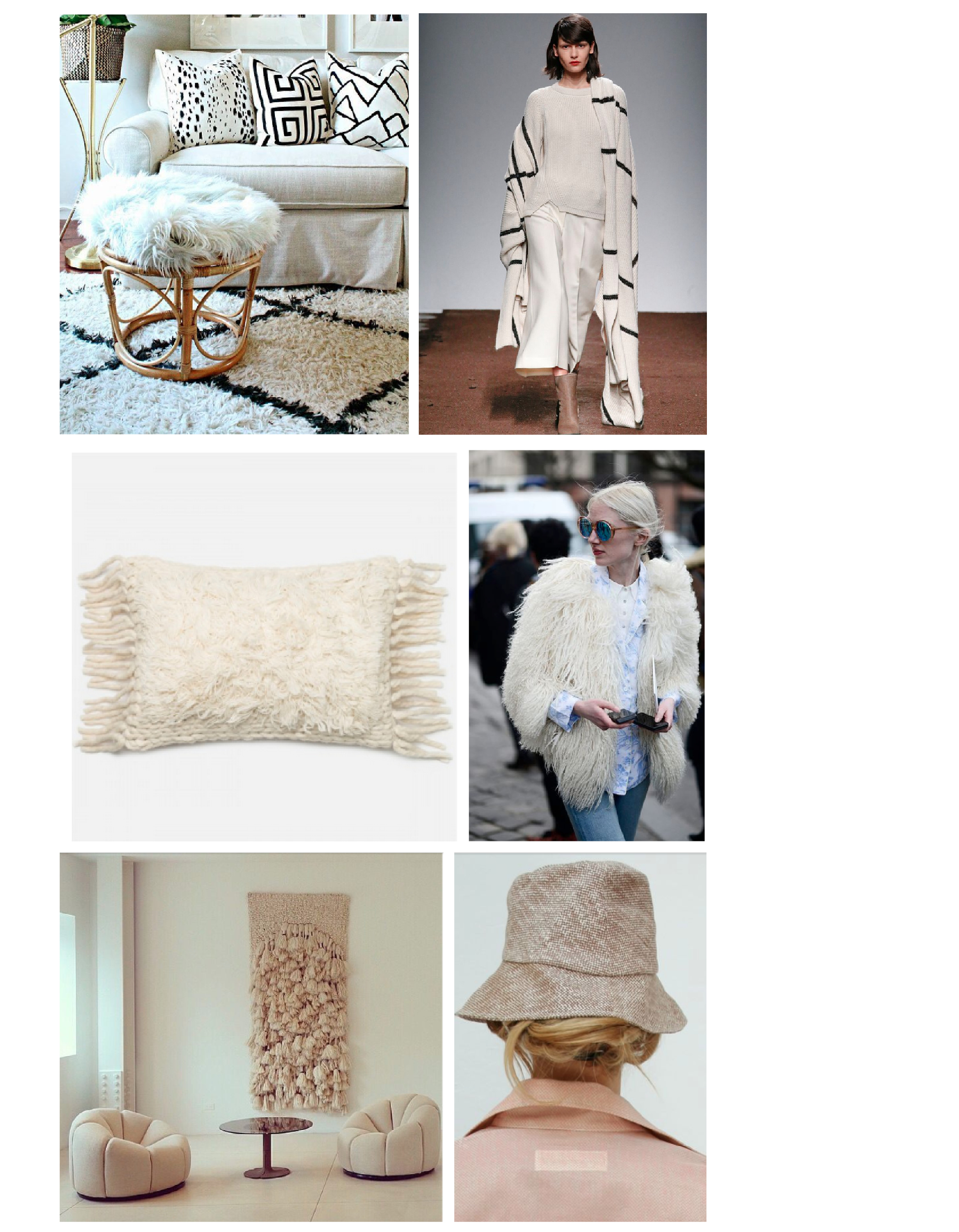Row1 : Black and white living space by  PopSugar Home  // Insane outfit by  Christian Wijnants . Row 2:  Quila Pillow  //  Amazing Jacket . Row 3:  Pierre Paulin  // Tweed Hat from  Beklina .