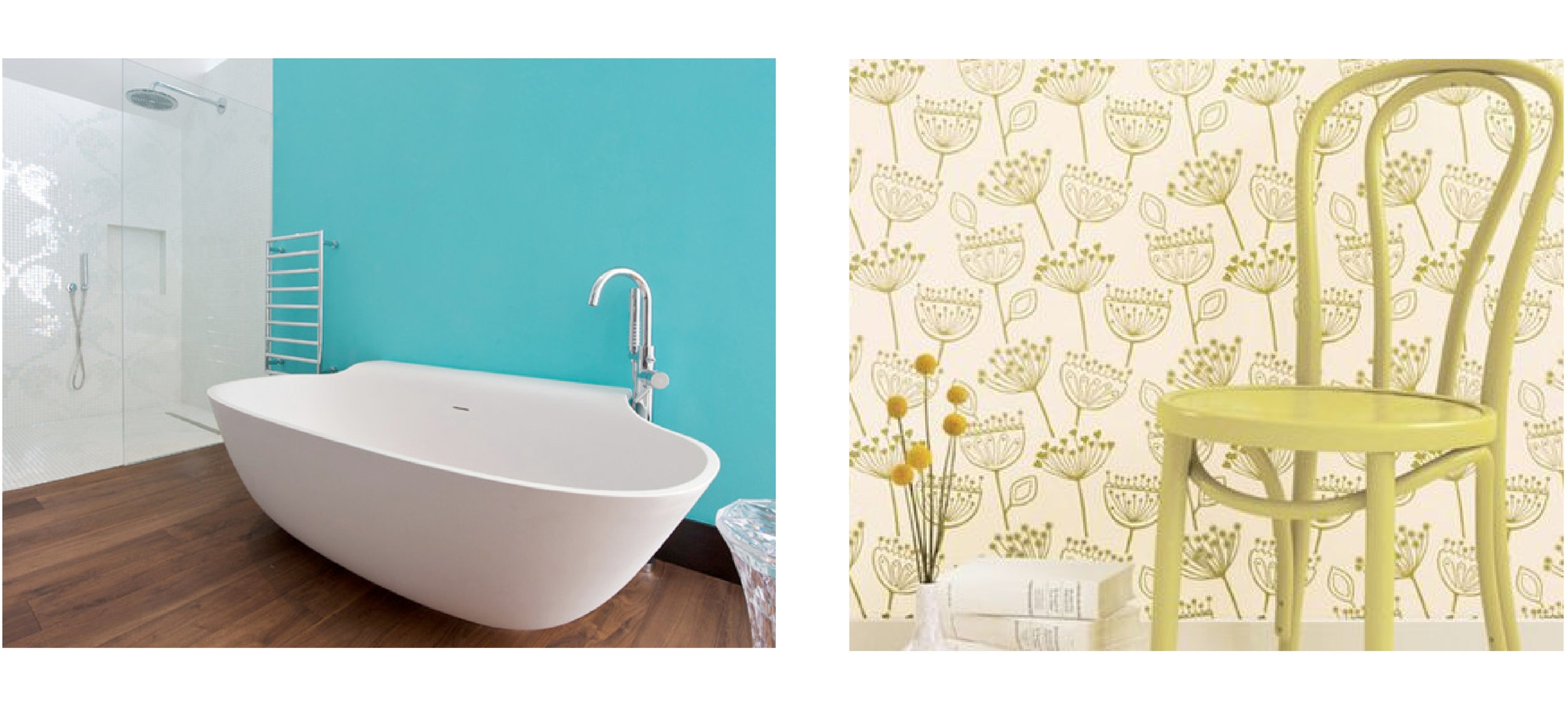 Left: Sherwin Williams Aquarium and Right:Romo's Cherry Garland Wallcovering.