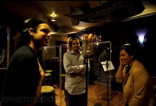 Photo courtesy of Jason Goodman - The Curtis Brothers (Zaccai and Luques Curtis) and Tiffany during the recording of  'Blood, Spirit, Land, Water, Freedom'