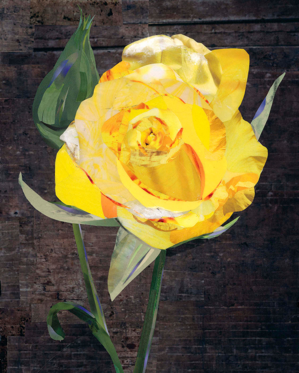 Yellow Rose - This 9x12 inch collage was created for a gentleman as a special gift to his father. His father had recently lost his wife, whose favorite flower was a yellow rose. I decided to give this piece a dark background so that the rose would really pop.