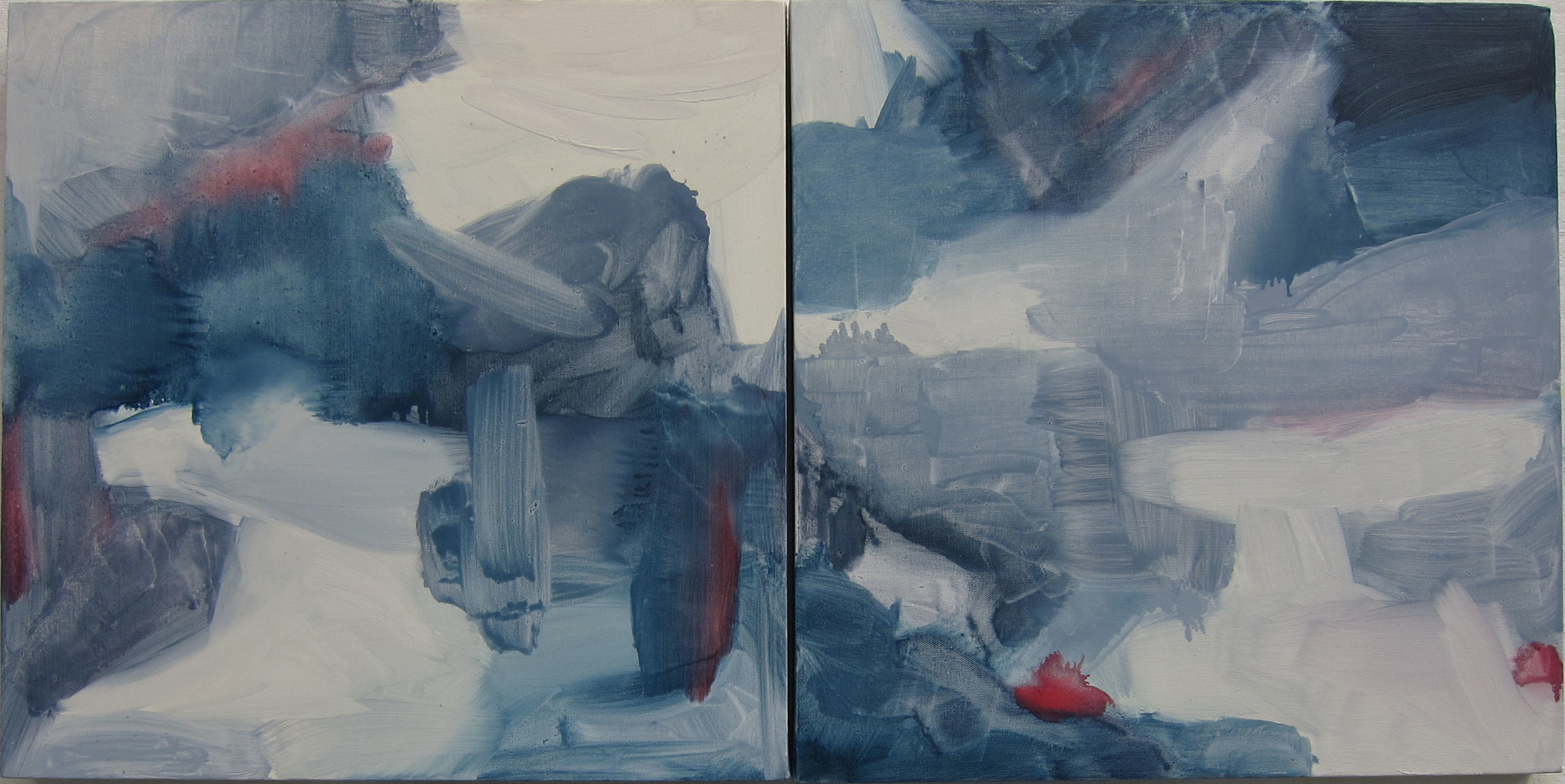 Montauk Grey Days, 2013, oil on canvas, 18 x 18 inches each.