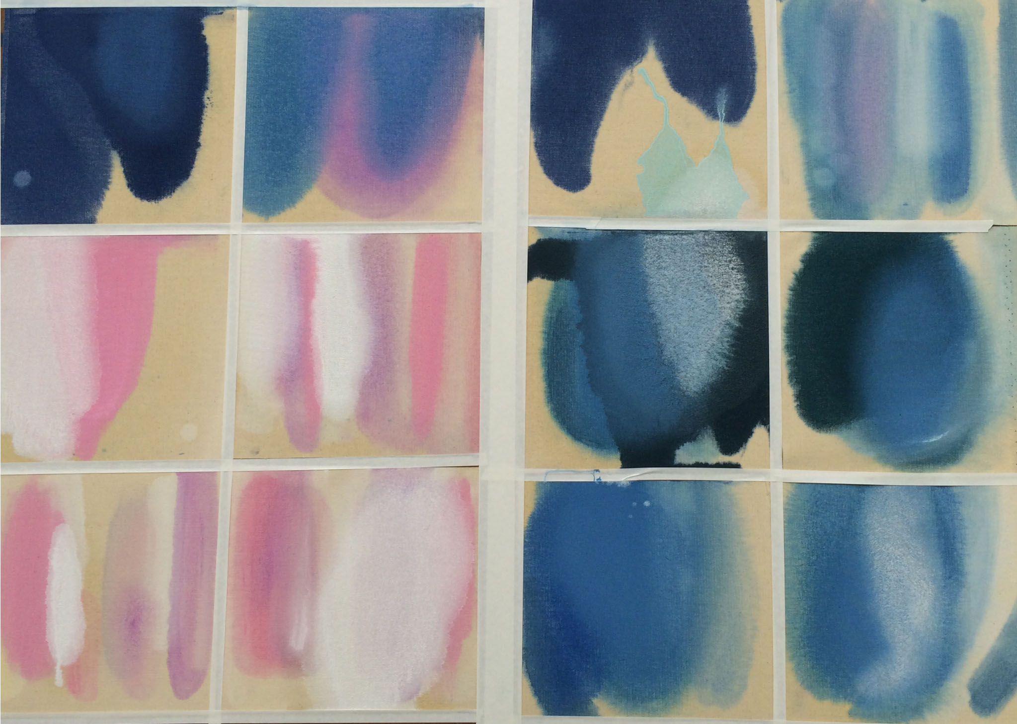 Pour Series 1 , 2014, composite of 12 studies of oil on canvas, approximately 10 x 10 inches each.