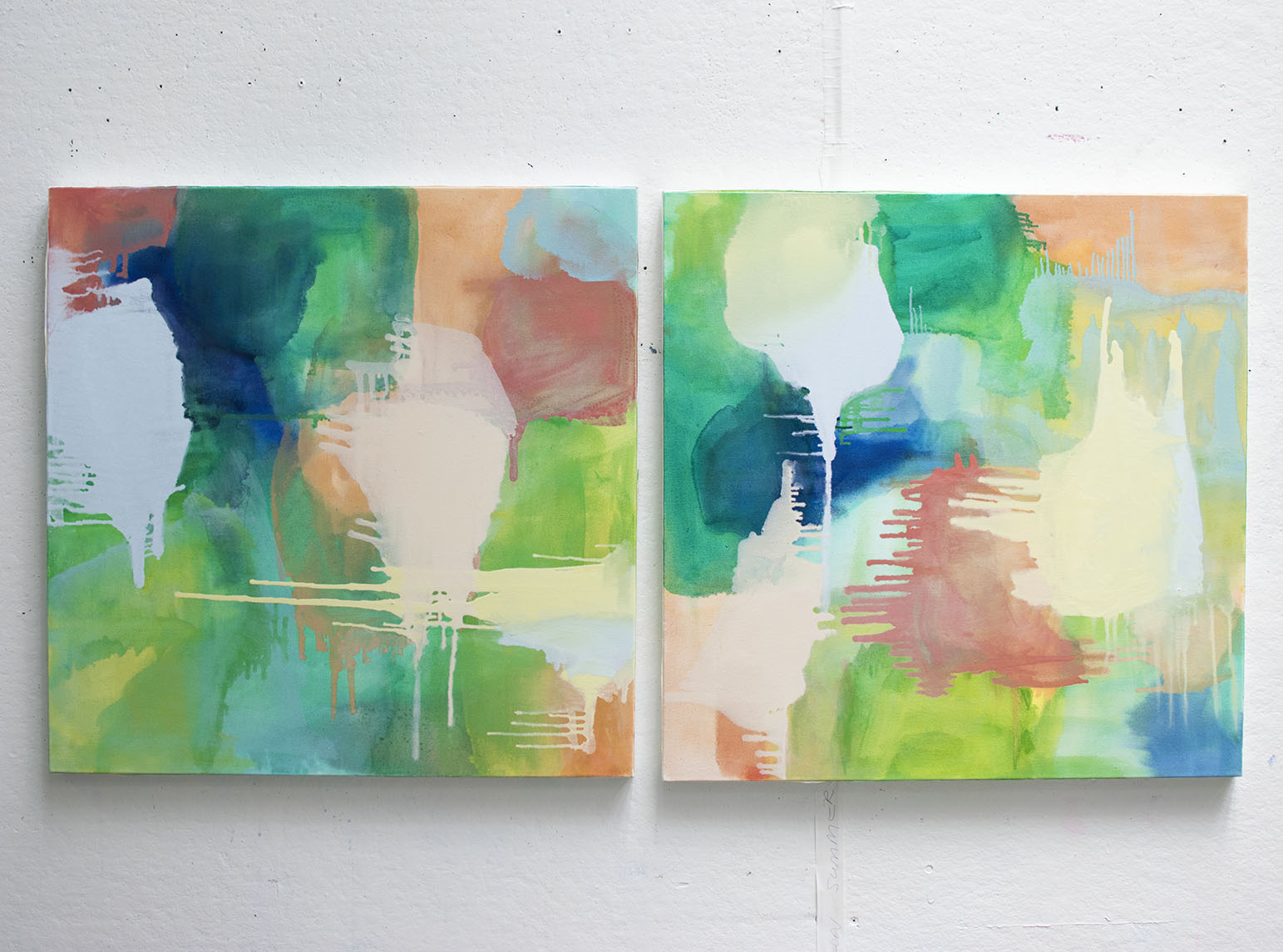 Islands of Summer , 2014, oil on canvas, 30 x 30 each. Pictured in studio. Commissioned piece.