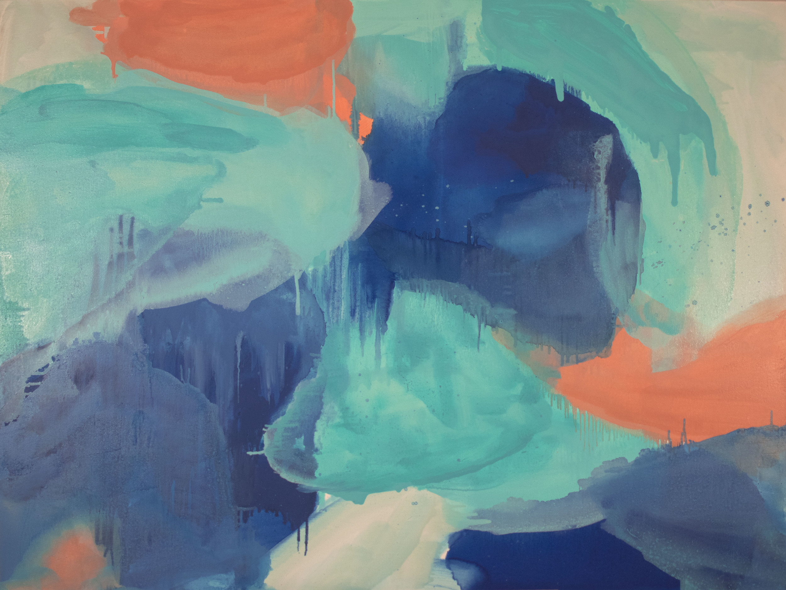 Pools , 2014, oil on canvas, 36 x 48 inches.