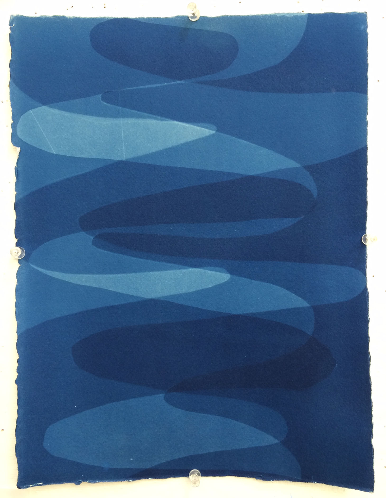 Intersecting Waves , 2014, Cyanotype on Arches paper, 14 x 10.5 inches.