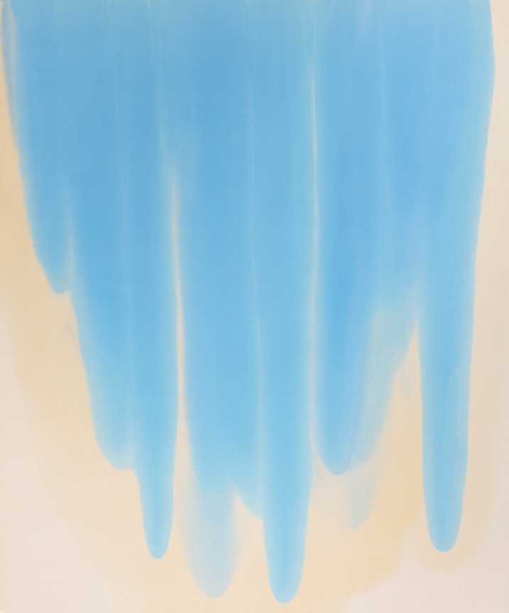 Big Blue Pour , 2014  Oil on canvas  72 x 60 inches