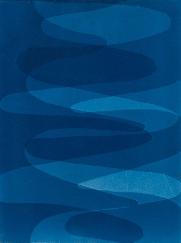 Intersecting Waves , 2014 Cyanotype on Arches paper 14 x 10.5 inches