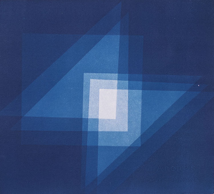 Geometric II , 2015 Cyanotype on Arches paper 10.75 x 12 inches