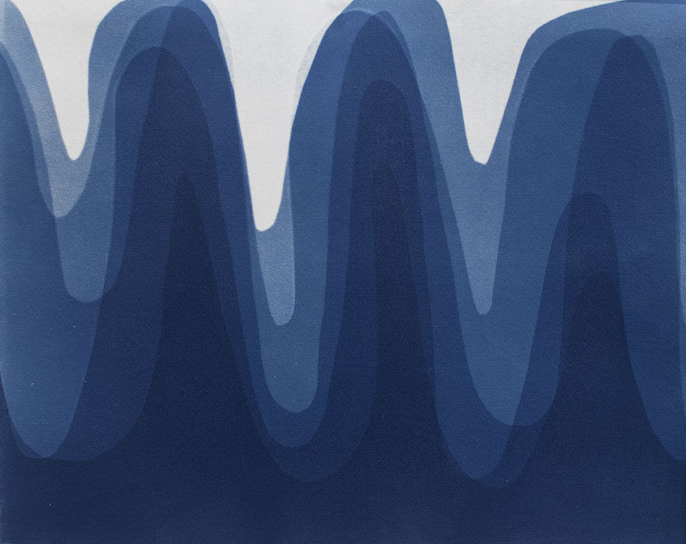 Waves III , 2014 Cyanotype on Arches paper 12 x 15 inches