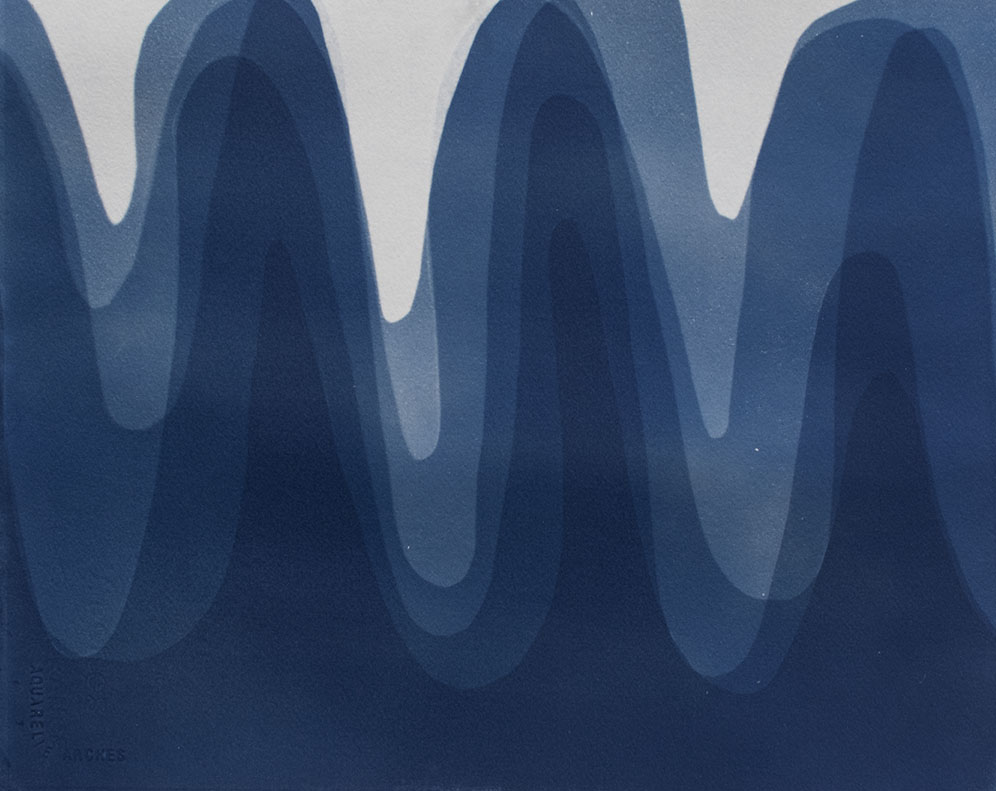 Waves IV , 2014 Cyanotype on Arches paper 12 x 15 inches
