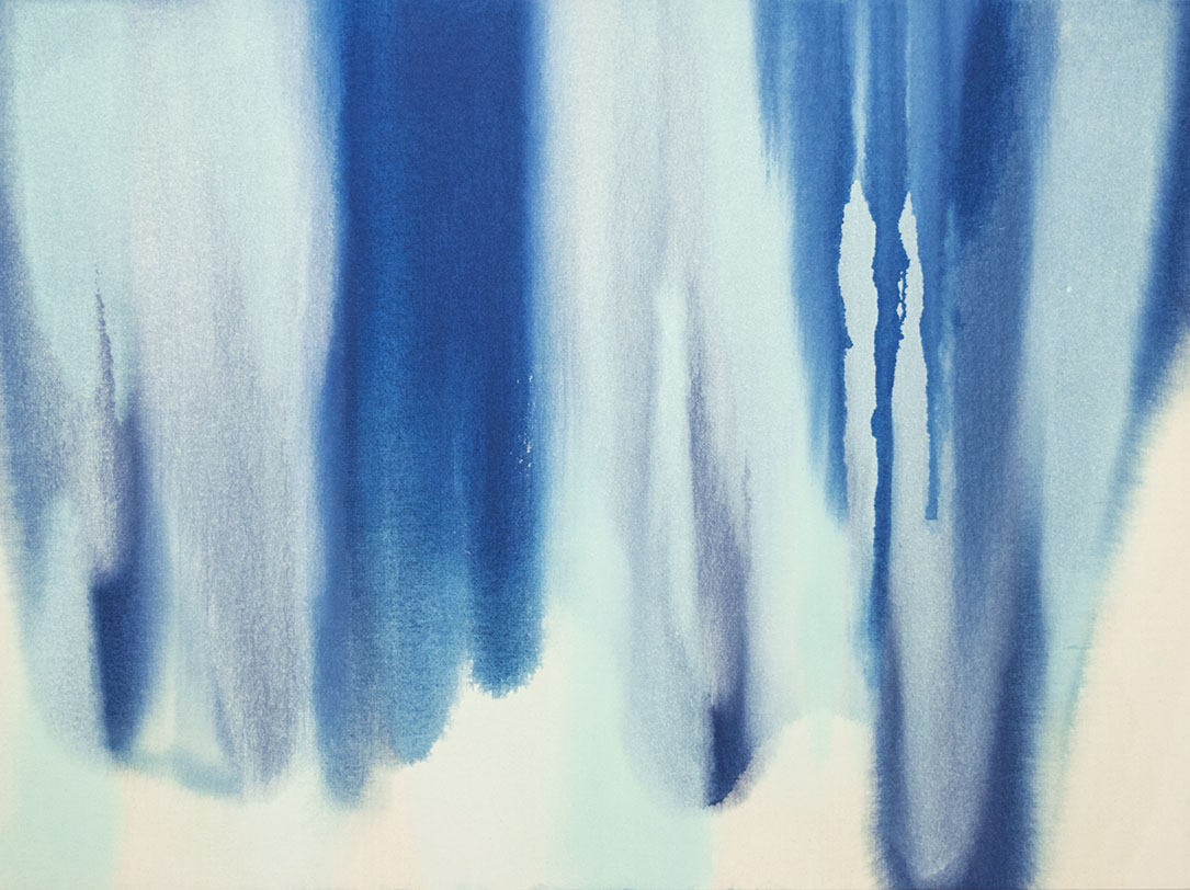 Deep Blue and Mint Pours , 2016   Oil on canvas  36 x 48 inches