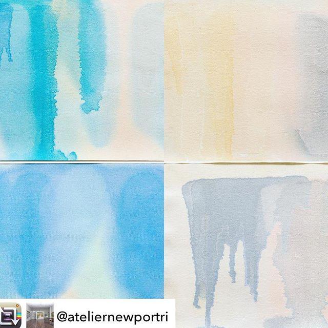 New studies available #regram #repost @ateliernewportri Shades of blue, grey, gold and blush :: Pour Studies:: @amandasfenlonart  #abstractart #dividedmind #newportri #newportartgallery #summertime