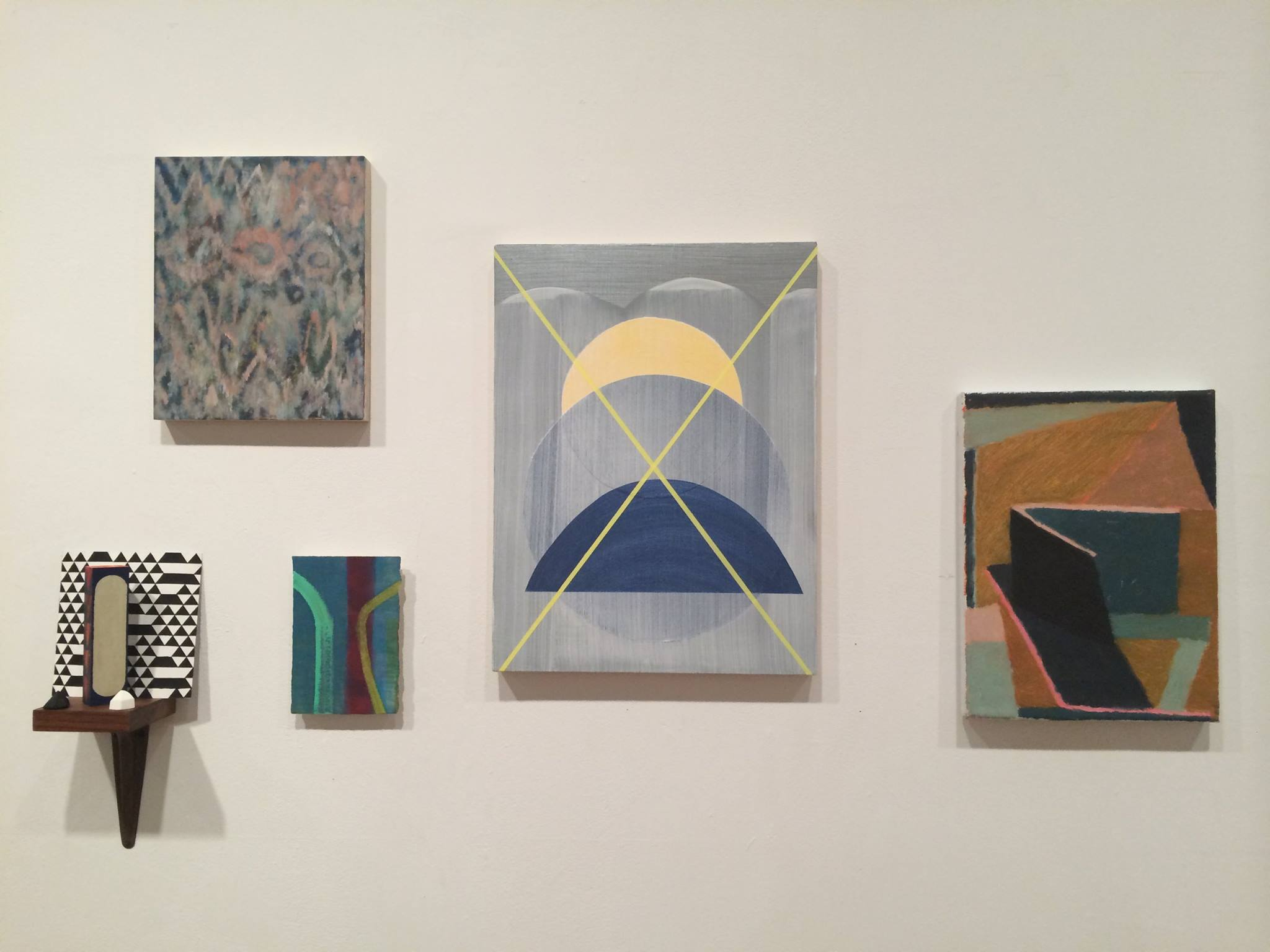"""""""New Work City"""", curated by Julie Torres at Momenta Art Jan 5th - Jan 11th. """"Lucid"""" in the center with yellow X. Photo by Julie Torres."""