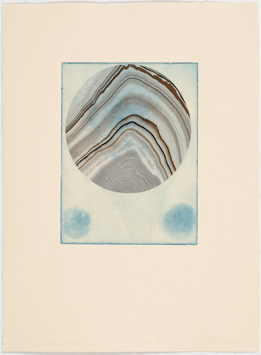 """Seed"" etching on paper with chine colle on marbleized paper, varied edition of 7, 2013 $125 each"