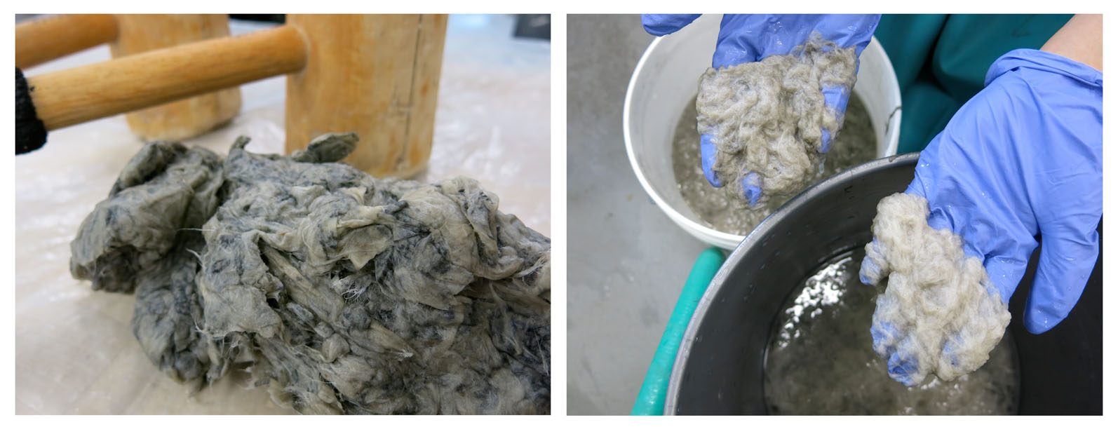 Above left: cooked fiber prior to beating (note: printed lettering is still visible in the fiber). Top right: beaten and washed fiber, 1 and 3 times processed.