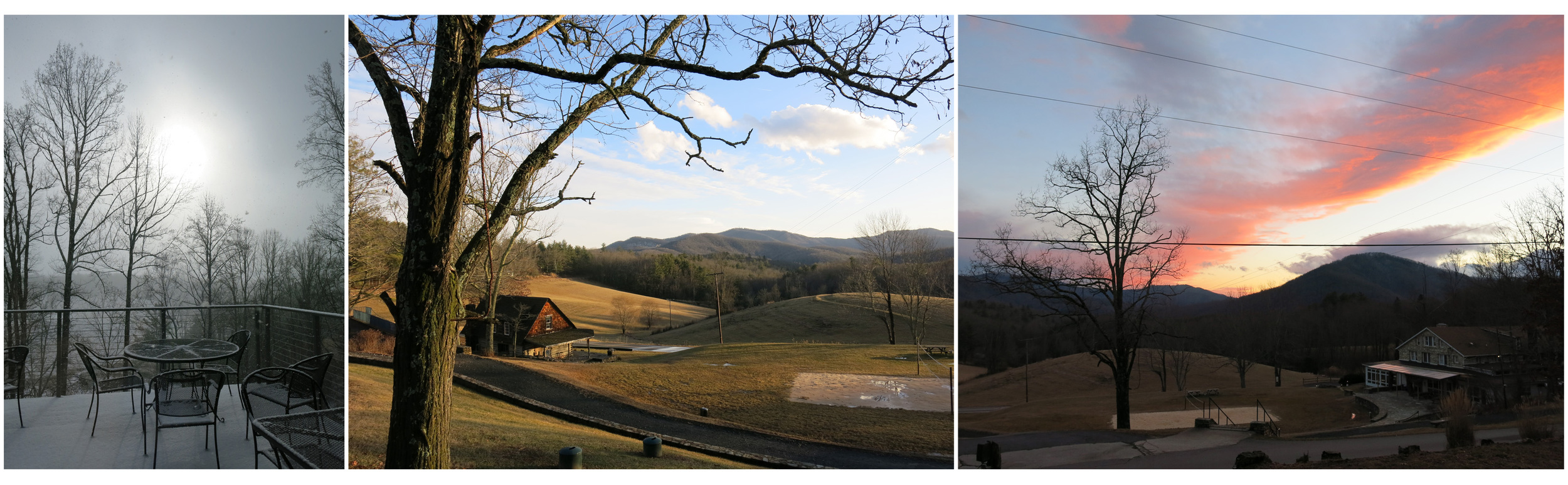 The varying landscape of Penland in winter.